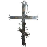"""Кованое украшение """"Крест с розами"""""""