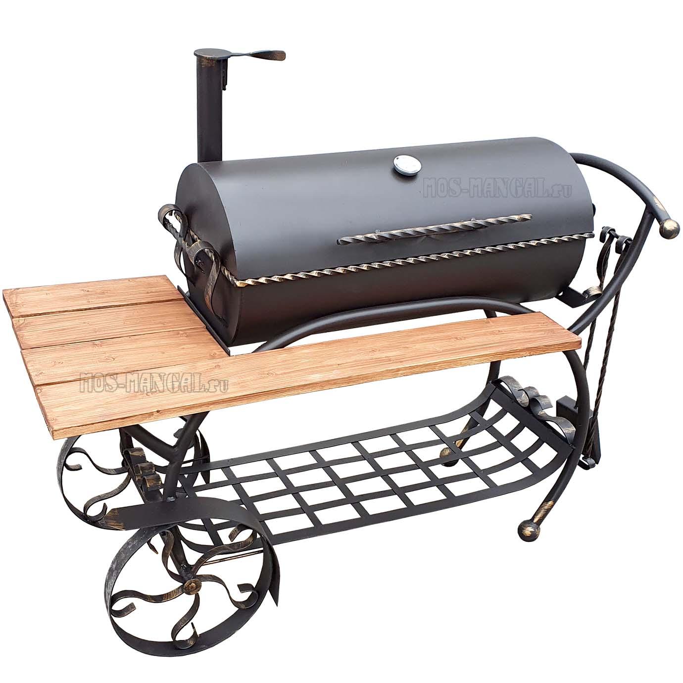 """мангал-барбекю """"Карета BBQ с деревянной столешницей"""""""