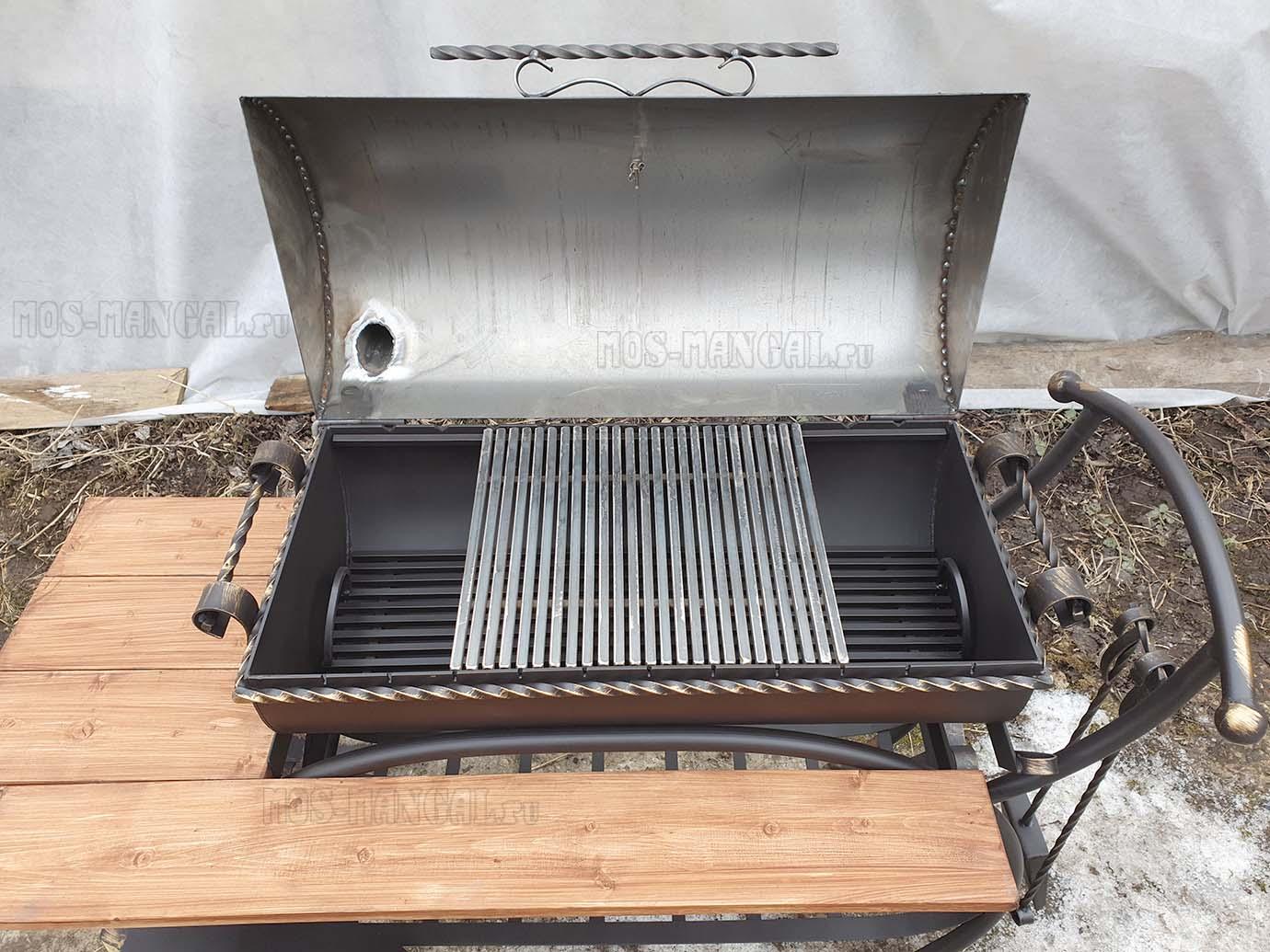 """жаровня с решеткой-барбекю мангала """"Карета BBQ с деревянной столешницей"""""""