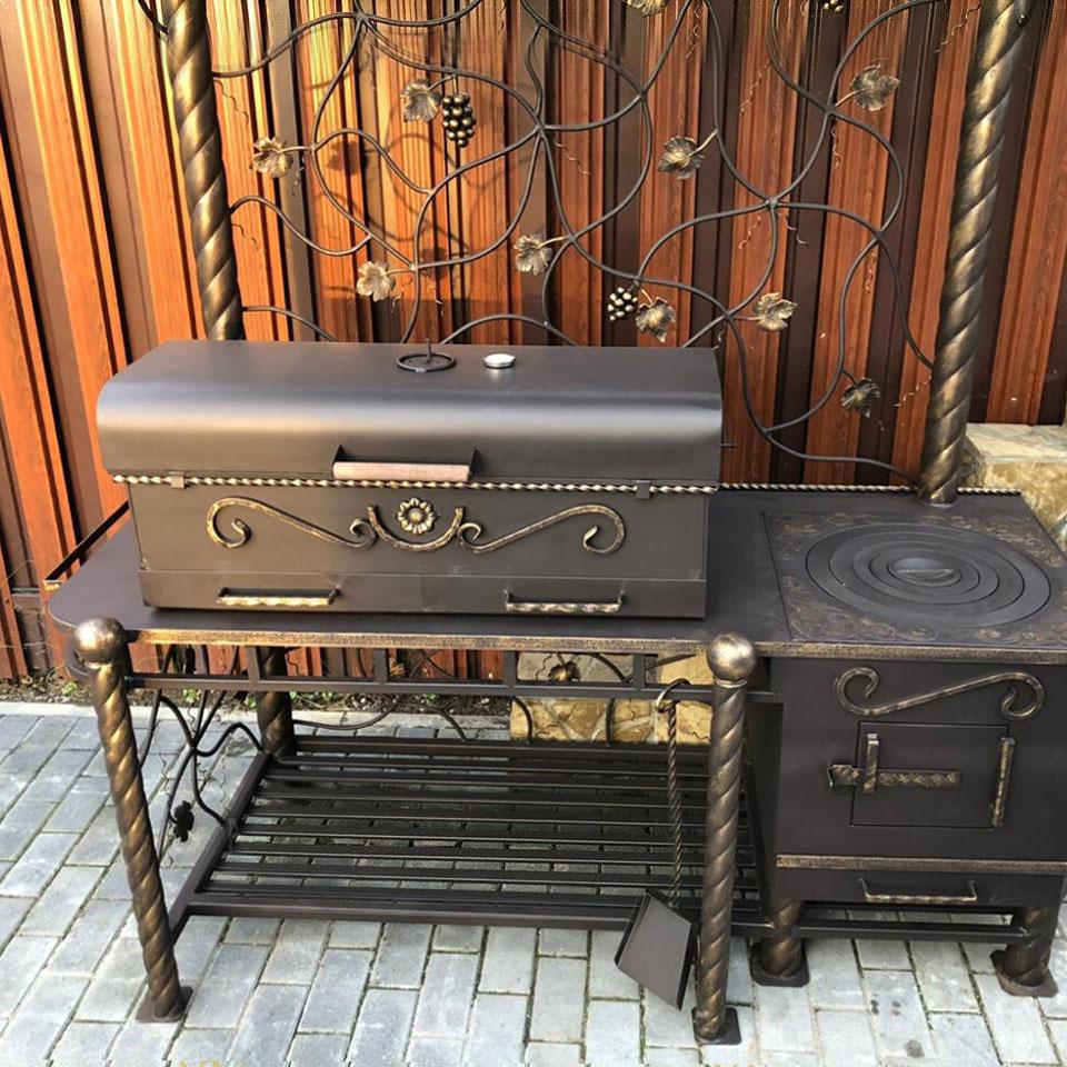 жаровня-барбекю и печка с чугунной плитой